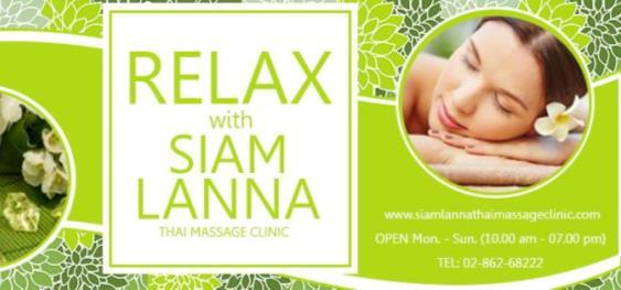 This Image shows Saim Lanna Thai Massage shop promotional text - Relax with Siam Lanna Thai Massage clinic - with opening hours  and telephone number